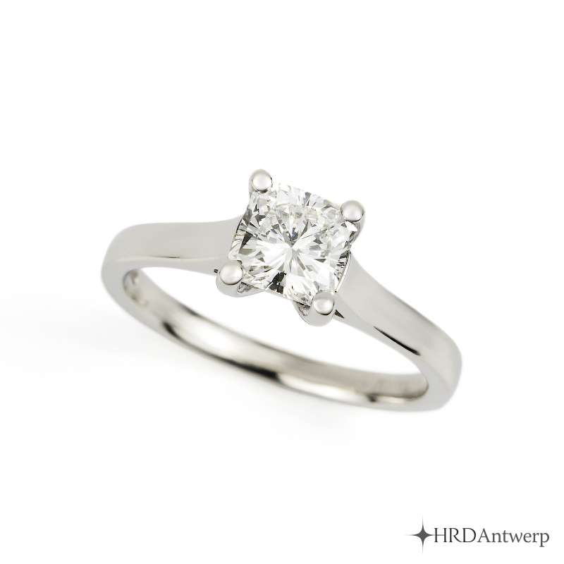 18k White Gold Radiant Cut Diamond Ring 1.02ct H/VVS2